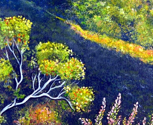 (CreativeWork) Govetts Leap Lookout, Blue Mountains by Linda Callaghan. Acrylic Paint. Shop online at Bluethumb.