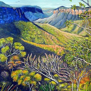 (CreativeWork) Govetts Leap Lookout, Blue Mountains by Linda Callaghan. acrylic-painting. Shop online at Bluethumb.