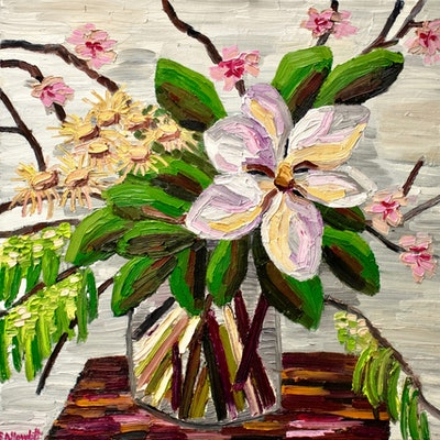 (CreativeWork) Spring Blossom with Magnolia  by Elisabeth Howlett. Oil Paint. Shop online at Bluethumb.