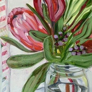 (CreativeWork) Study with Protea bunch & Vintage Jar by Alicia Cornwell. oil-painting. Shop online at Bluethumb.