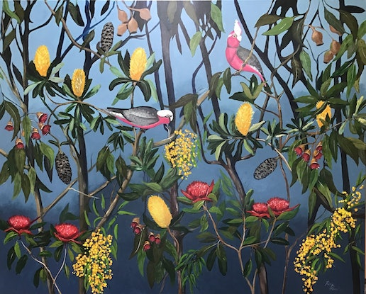 (CreativeWork) Exotic Australian garden  by Ron Brown. Acrylic Paint. Shop online at Bluethumb.