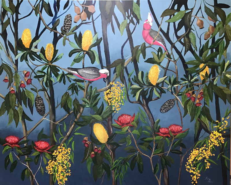 (CreativeWork) Exotic Australian garden  by Ron Brown. acrylic-painting. Shop online at Bluethumb.