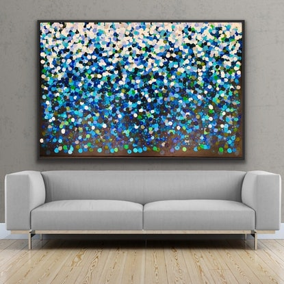 (CreativeWork) On sale Fauna 152x102 framed large abstract by Sophie Lawrence. Acrylic Paint. Shop online at Bluethumb.