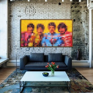 (CreativeWork) The Beatles by Patricia Van Lubeck. acrylic-painting. Shop online at Bluethumb.