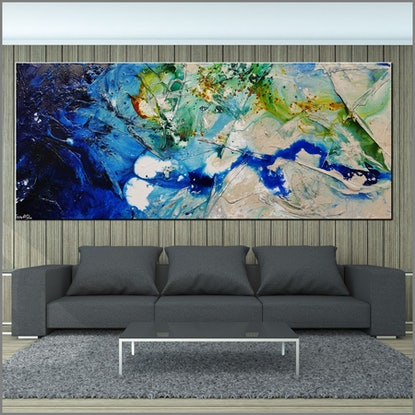 (CreativeWork) Natures Class 240cm x 100cm HUGE Green Blue Cream Nature Textured Acrylic Abstract Gloss Finish FRANKO by _Franko _. #<Filter:0x00007f482e11e0e0>. Shop online at Bluethumb.