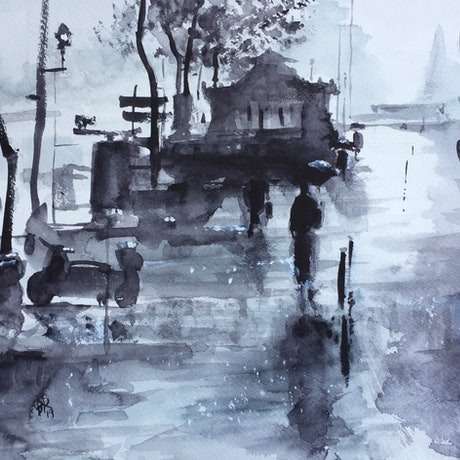 (CreativeWork) Rainy Day in Paris by Bernd Rieve. Watercolour Paint. Shop online at Bluethumb.