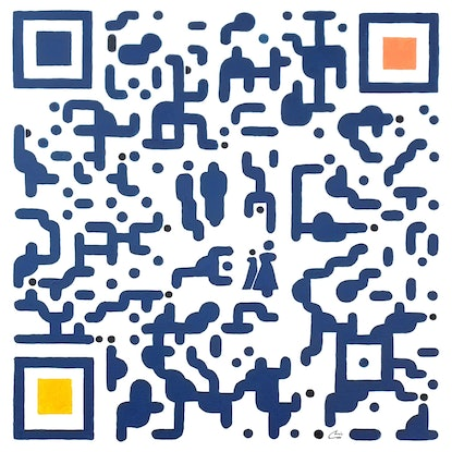 (CreativeWork) ' QR Code People ' Scan Art by Chris Cox. Acrylic. Shop online at Bluethumb.