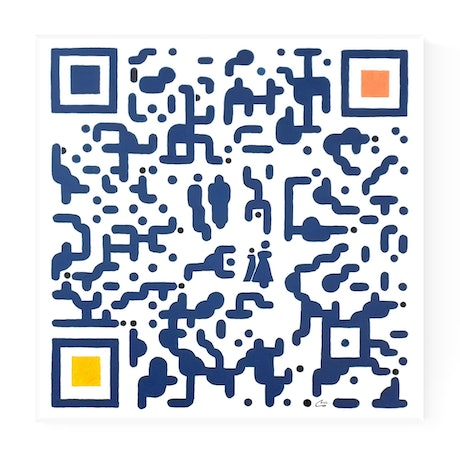 (CreativeWork) ' QR Code People ' Scan Art by Chris Cox. Acrylic Paint. Shop online at Bluethumb.