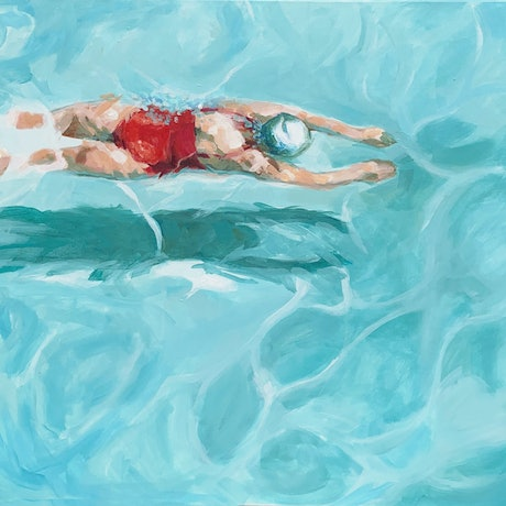 (CreativeWork) Lap Swimmer - Coral by TeMoana .. Acrylic Paint. Shop online at Bluethumb.