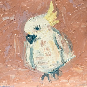 (CreativeWork) Pastel Cockatoo by Katherine Warburton. arcylic-painting. Shop online at Bluethumb.