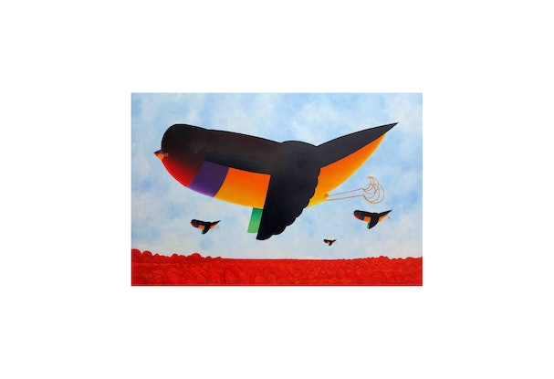 (CreativeWork) Gould Finch in Flight  by John Graham. Oil Paint. Shop online at Bluethumb.