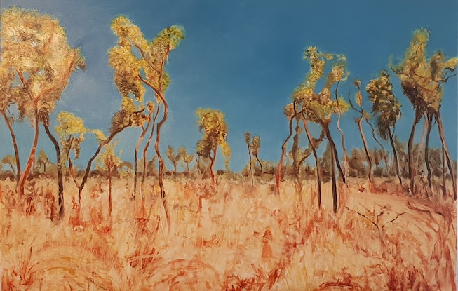 (CreativeWork) Bloodwood dancing by Vanessa Whittington. Oil Paint. Shop online at Bluethumb.