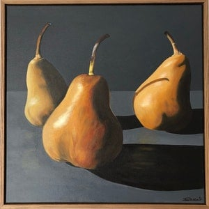 (CreativeWork) In the Spotlight......Pears (Framed) by Patricia Hillard. arcylic-painting. Shop online at Bluethumb.