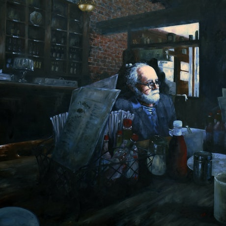 (CreativeWork) Breakfast at Dottie's by James Wild. Oil Paint. Shop online at Bluethumb.