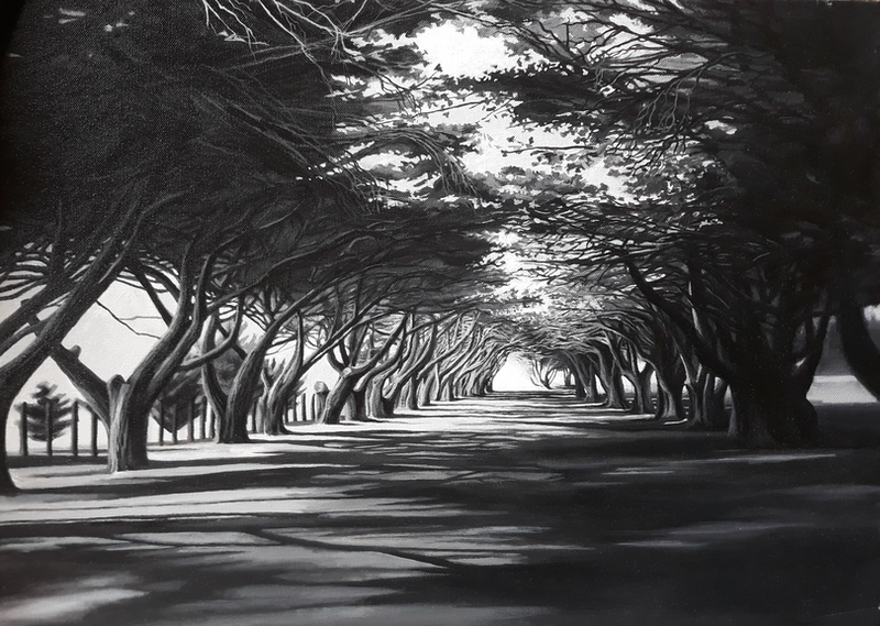 (CreativeWork) Tree-lined avenue by Nerrida Parfitt. arcylic-painting. Shop online at Bluethumb.