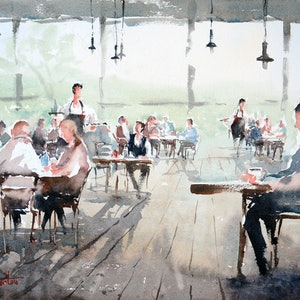 (CreativeWork) Lunch in Leura by Chrysovalantou Mavroudis. watercolour. Shop online at Bluethumb.