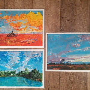 (CreativeWork) Outback Australian Series (Set of 3) - Strict limited edition fine art reproductions of acrylic originals Ed. 1 of 100 by Scott Neil. print. Shop online at Bluethumb.