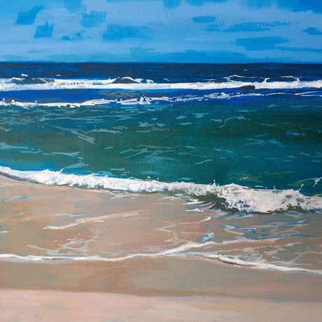 (CreativeWork) Yanchep Lagoon 1.  Western Australian Beaches Series. Beautiful place near  Fisherman's Hollow.  Ocean Seascape. Framed by Scott Neil. Acrylic Paint. Shop online at Bluethumb.