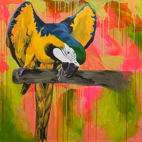 (CreativeWork) Charlie by Rebecca Warr. Acrylic Paint. Shop online at Bluethumb.