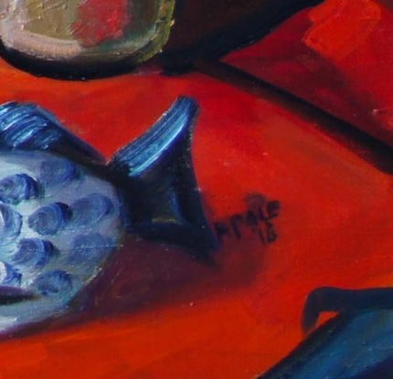 (CreativeWork) Still Life with Fish by Katerina Apale. Oil Paint. Shop online at Bluethumb.