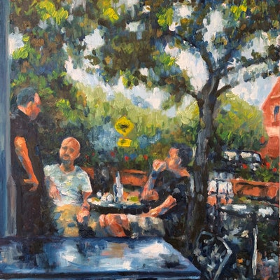 (CreativeWork) The Morning News by James Wild. oil-painting. Shop online at Bluethumb.
