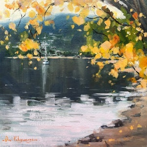 (CreativeWork) Autumn in Queenstown. by Vivi Palegeorge. Oil Paint. Shop online at Bluethumb.