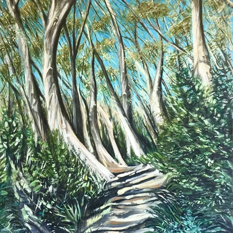 (CreativeWork) Thredbo Forest by cara page. Oil Paint. Shop online at Bluethumb.