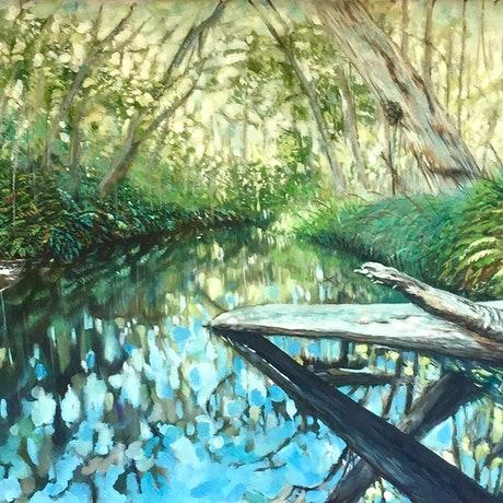 (CreativeWork) At the Creek by cara page. Oil Paint. Shop online at Bluethumb.
