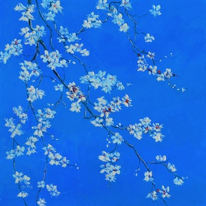 (CreativeWork) WHITE BLOSSOM ON BLUE by Jan Matson. oil-painting. Shop online at Bluethumb.