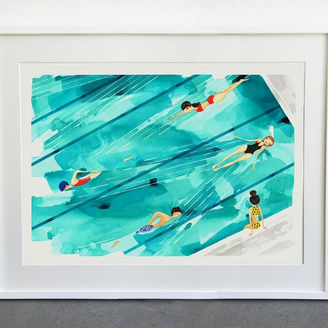 (CreativeWork) In my Own Lane  - Original watercolour by Gill Cameron  - Line for a Walk. Watercolour Paint. Shop online at Bluethumb.