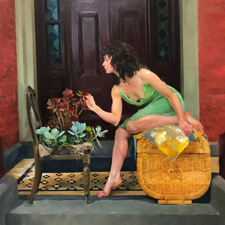 (CreativeWork) Flower Talk by Li Zhang. Oil Paint. Shop online at Bluethumb.