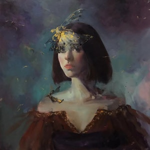 (CreativeWork) Butterfly by Li Zhang. oil-painting. Shop online at Bluethumb.
