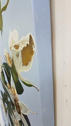 (CreativeWork) the blue rose by Claire Souter. Oil Paint. Shop online at Bluethumb.