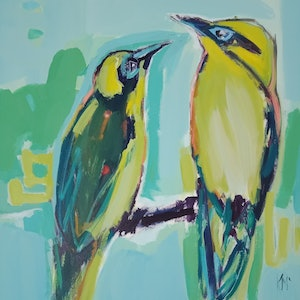 (CreativeWork) HONEY EATERS by Karen McPhee. acrylic-painting. Shop online at Bluethumb.