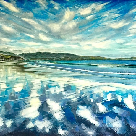 (CreativeWork) Reflections by cara page. Oil Paint. Shop online at Bluethumb.