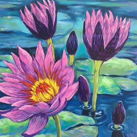 (CreativeWork) Water Lily Flowers by Irina Redine. Oil Paint. Shop online at Bluethumb.