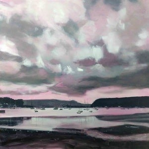 (CreativeWork) In the Pink by Karen Bloomfield. oil-painting. Shop online at Bluethumb.