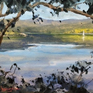 (CreativeWork) Huon River reflections. by Vivi Palegeorge. watercolour. Shop online at Bluethumb.