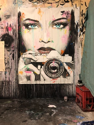 (CreativeWork) CAUGHT BY CAMERA by loui jover. Acrylic Paint. Shop online at Bluethumb.