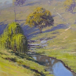 (CreativeWork) Creek through the landscape by Graham Gercken. oil-painting. Shop online at Bluethumb.