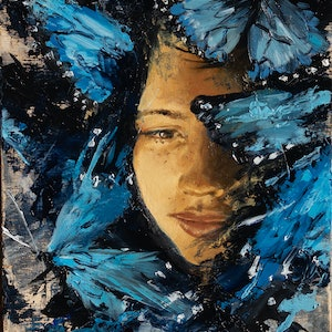 (CreativeWork) Blue Wings by Zac Hampson. oil-painting. Shop online at Bluethumb.