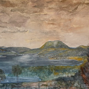 (CreativeWork) The Derwent from Rosny Hill by Christopher Johnston. acrylic-painting. Shop online at Bluethumb.