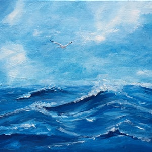 (CreativeWork) Ocean Flight I by Jess King. acrylic-painting. Shop online at Bluethumb.