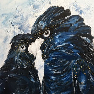 (CreativeWork) Black Cockatoo Love by Jess King. acrylic-painting. Shop online at Bluethumb.