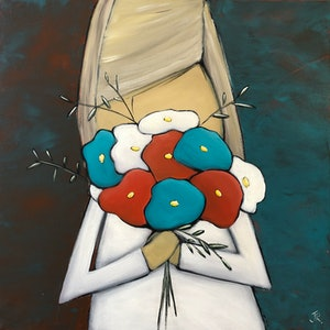 (CreativeWork) Girl with Flowers by Julie Robertson. arcylic-painting. Shop online at Bluethumb.