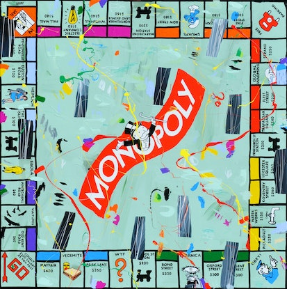 (CreativeWork) Monopoly Mayhem by Ben Tankard. Acrylic Paint. Shop online at Bluethumb.