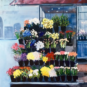 (CreativeWork) Melbourne Street Flowers by Meredith Howse. arcylic-painting. Shop online at Bluethumb.