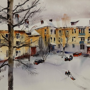 (CreativeWork) Winter I will never see here by Elena Churilova. watercolour. Shop online at Bluethumb.