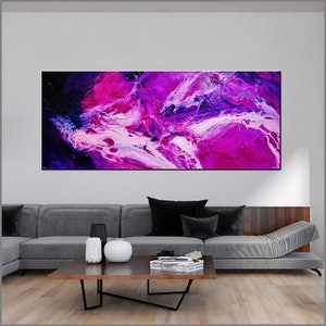 (CreativeWork) Atomic Samurai 240cm x 120cm White Pink Purple Textured Ink Abstract Gloss Finish FRANKO by _Franko _. arcylic-painting. Shop online at Bluethumb.