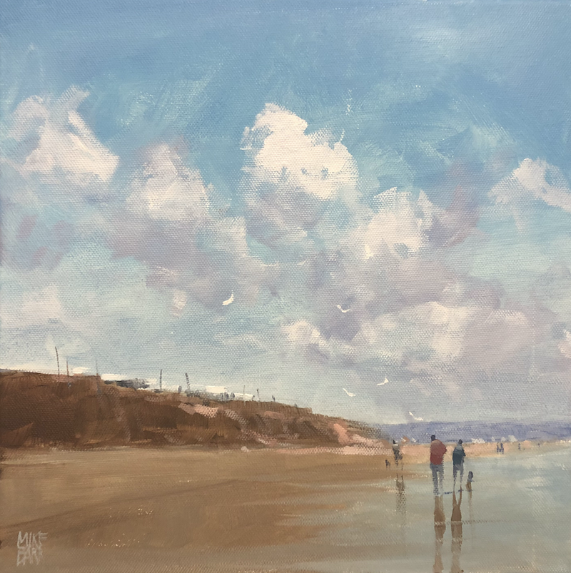 (CreativeWork) Autumn at Middleton - Mike Barr beach scene by Mike Barr. arcylic-painting. Shop online at Bluethumb.